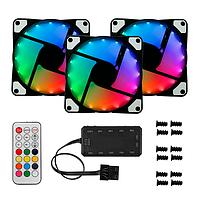 Комплект из 3 вентиляторов с адресной RGB подсветкой + контроллер + пульт, 3x120мм RGB