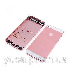 Корпус для APPLE iPhone 5 розовый, с белыми вставками, в комплекте с SIM-держателем и кнопками