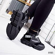"""Ботинки женские зимние, черного цвета из эко кожи """"8985"""". Черевики жіночі. Ботинки теплые, фото 2"""