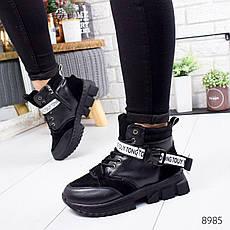 """Ботинки женские зимние, черного цвета из эко кожи """"8985"""". Черевики жіночі. Ботинки теплые, фото 3"""