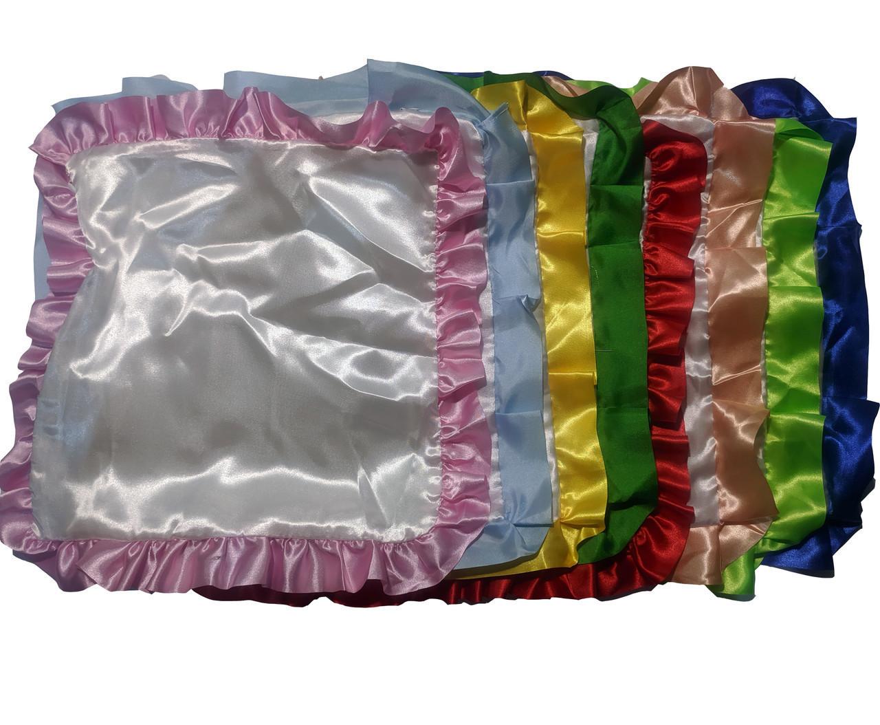 Подушка сублимационная атласная цветная с РЮШЕМ 35х35 РОЗОВЫЙ