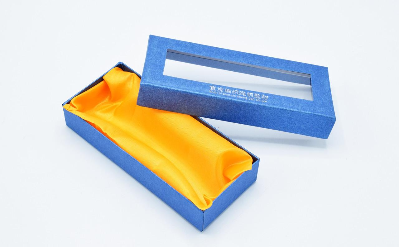 Коробка подарочная для плетеного брелка с логотипом авто, подарочная коробка с подушечкой синего цвета