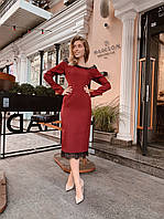 Элегантное платье миди с открытыми плечами и кружевом 40-44 р