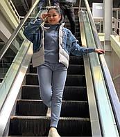 Женская куртка джинс с плащевкой, фото 1