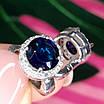 Круглі срібні сережки з синім кварцом - Сережки з синім каменем срібні родированные, фото 5