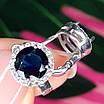 Круглі срібні сережки з синім кварцом - Сережки з синім каменем срібні родированные, фото 2