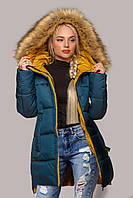Стильная зимняя куртка Лиза с мехом 44-56 размера волна