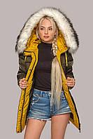 Стильная зимняя куртка Лиза с мехом 44-56 размера хаки с белым