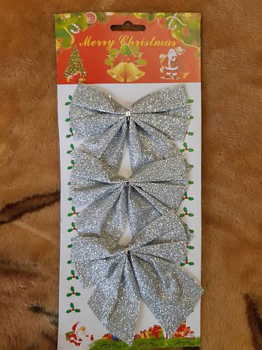 Набор новогодних серебристых бантиков - 3шт. (размер одного бантика 10*10см)