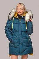 Стильная зимняя куртка Лиза с мехом 44-56 размера волна с белым