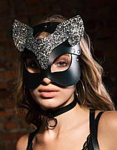 Маска кошки черно-серебристая, портупея на лицо маска кошки, женская портупея маска, маска кошечки