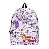 Яркий молодежный рюкзак для девушек с принтом Единорогов и котом сиреневый