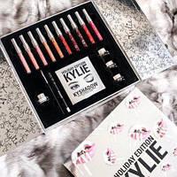 Набор косметики Holiday Box Kylie Limited Edition KY 17in1, Кайли набор помада, тени, блеск, Лучший подарок