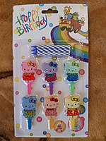 """Свечки в торт для детей """"Hello Kitty"""" - 6 штук, разноцветные, свечка 6см, подставка 5см"""