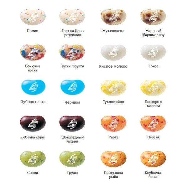 конфеты с разными вкусами