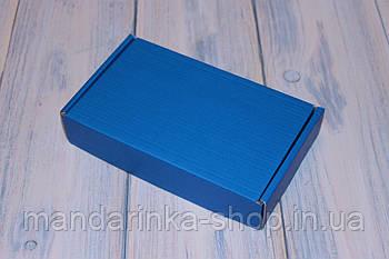 Коробка картонна 185 х 110 х 37 мм, самозбірна (синя)