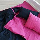 Постельное белье двуспальное Евро (4 наволочки) однотонное двухцветное Малиново-черное Фабричная Турция, фото 2