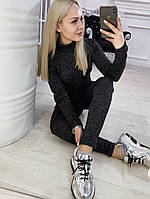 Женский зимний спортивный костюм из ангоры софт, кофта гольф, штаны на затяжке, длинный рукав (42-46) Чёрный