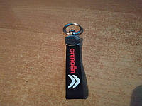 Брелок на ключи Citroen (Ситроен) двухсторонний цветной на резинке (Силикон)