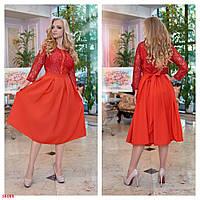 Платье женское ,красного цвета,верх гипюр ,юбка костюмка,на поясе,декор пуговицами 50-52,52-54,54-56 размеры