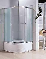 Кабина душевая полукруглая 1021-F ECO 100х100х200/ стекло Fabric/ поддон - 40см. Бесплатная доставка