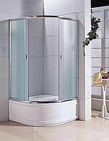 Кабина душевая полукруглая 1021-F ECO 100х100х200/ стекло Fabric/ поддон - 40см