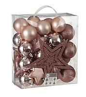 """Елочные пластиковые шарики 40 шт, """"House of Seasons"""" комплект, розовые"""