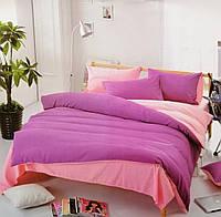 Постельное белье двуспальное Евро (4 наволочки) однотонное двухцветное Lilac Фабричная Турция