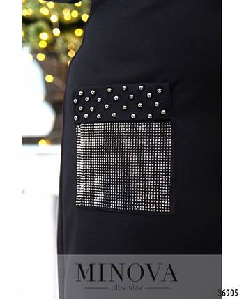 Модное женское платье батал украшенное пайетками и бусинками   с 52 по 58 размер, фото 2