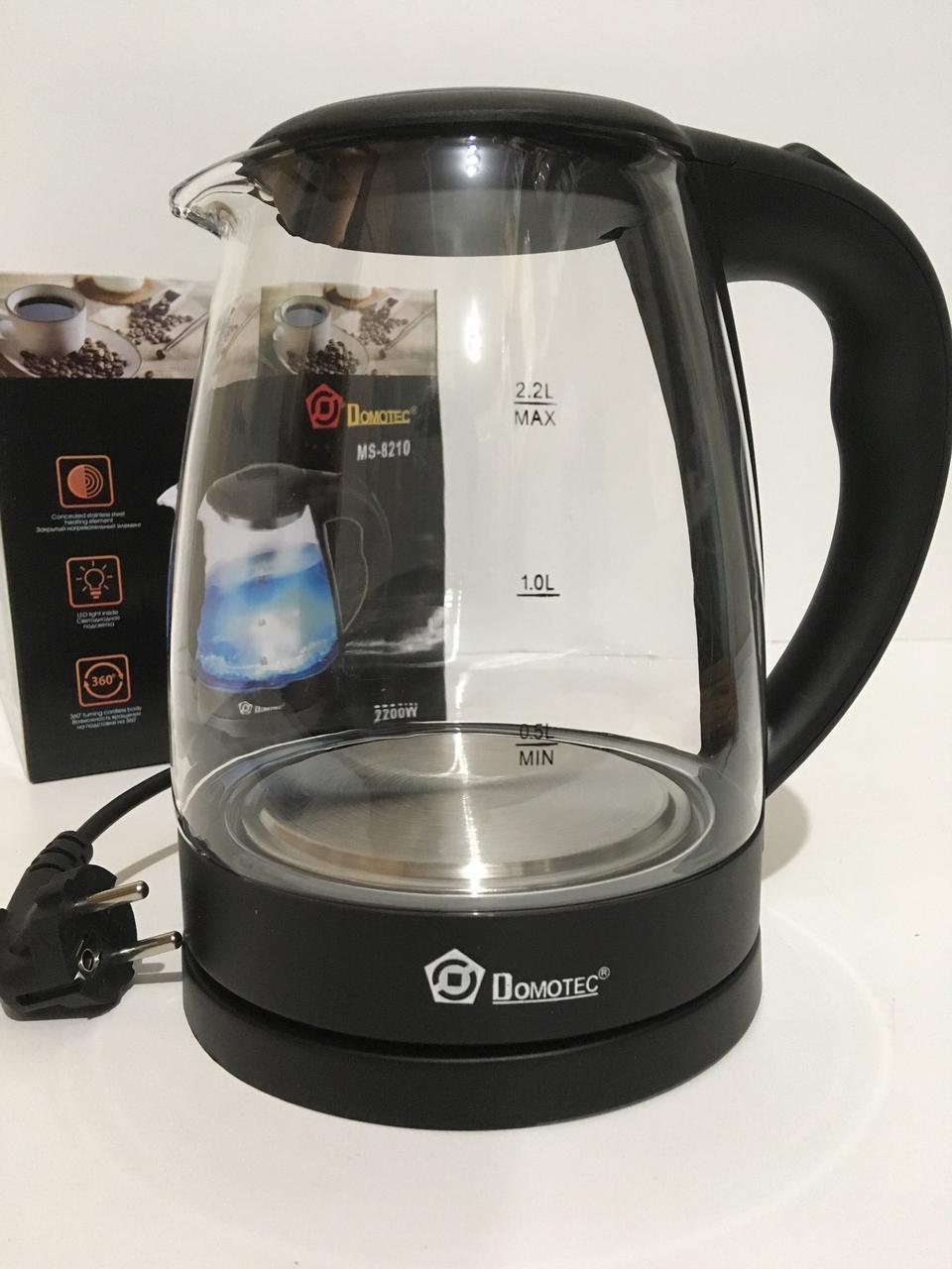 Чайник стеклянный DOMATEC MS-8210/ Black (6 шт/ящ)