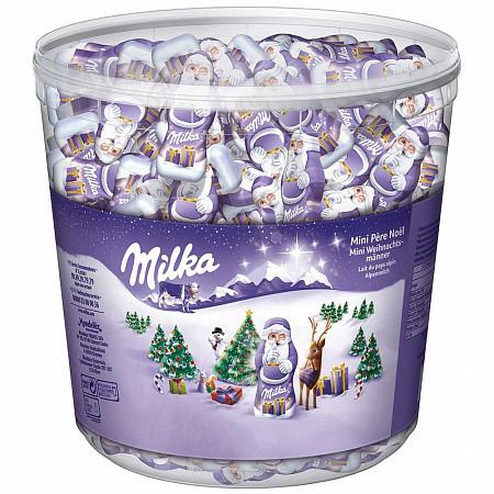 Шоколадные конфеты Milka Mini Pere Noel Санта, ведро 1.540 кг.