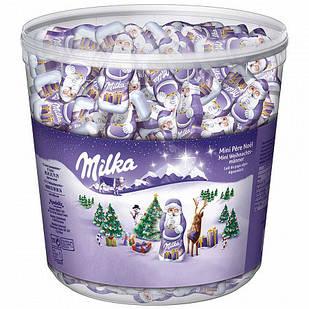 Шоколадні цукерки Milka Mini Pere Noel Санта, відро 1.540 кг.