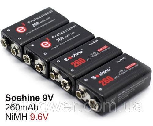 Soshine 9.6V 260 mAh Ni-Mh аккумулятор Крона с повышенным напряжением. Для энергоёмких устройств.