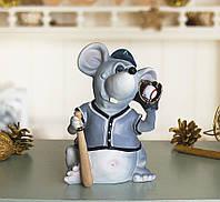 Копилка, статуэтка Мышка Бейсболист. Символ 2020 года