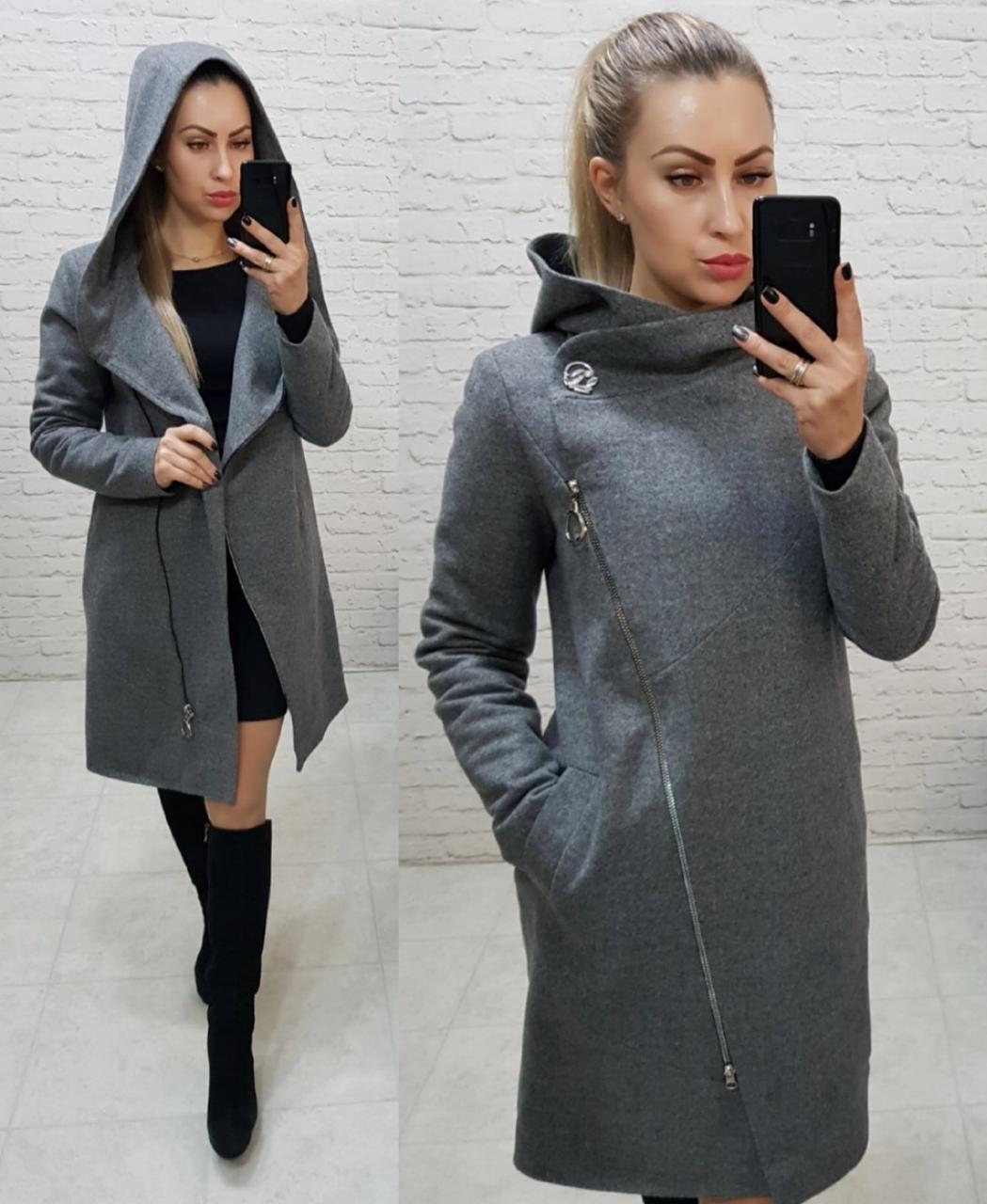 Пальто женское с капюшоном, серое,зима, модель  136