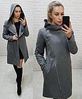 Пальто женское с капюшоном, серое,зима, модель  136, фото 1