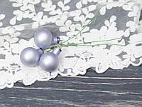 Новорічні стекл. кульки 2 см на дроті 3 шт, фото 1