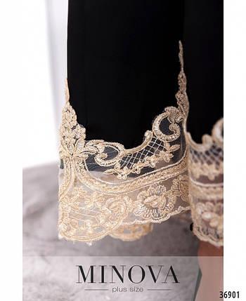 Нарядное женское  платье А-силуэта с ассиметричным подолом украшенным кружевом  с 50 по 60 размер, фото 2