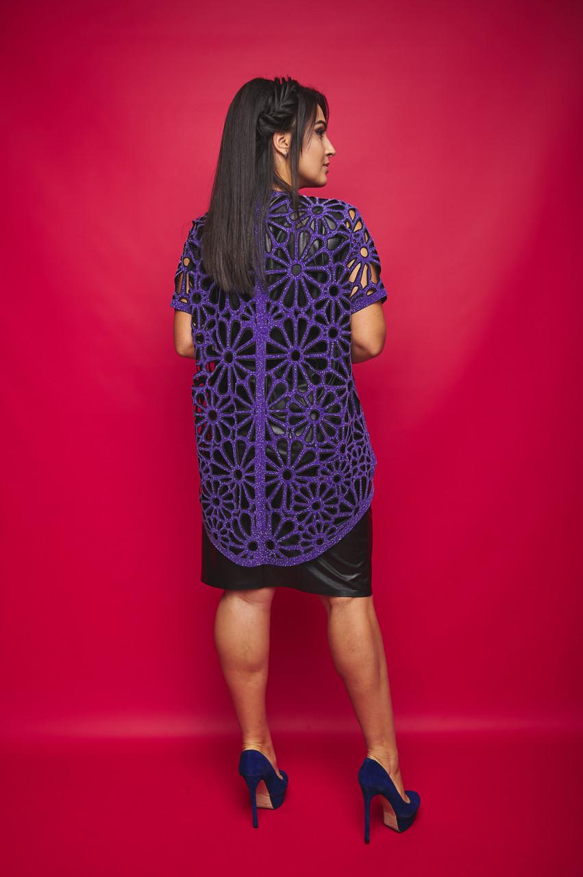 Женский костюм двойка платье+накидка люрексовая большого размера.Размеры:50-56.+Цвета