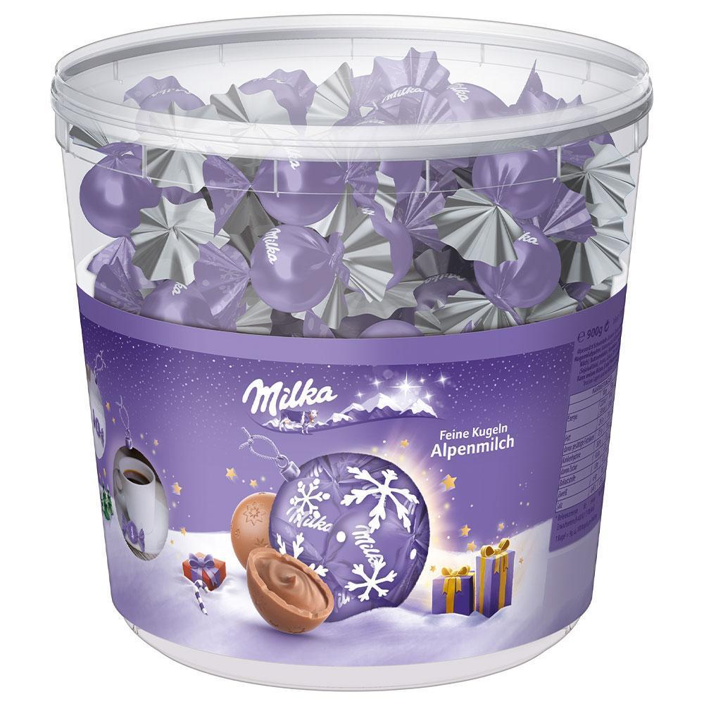 Шоколадные конфеты Milka Feine Kugeln Alpenmilch с пралине, ведро 900 грамм