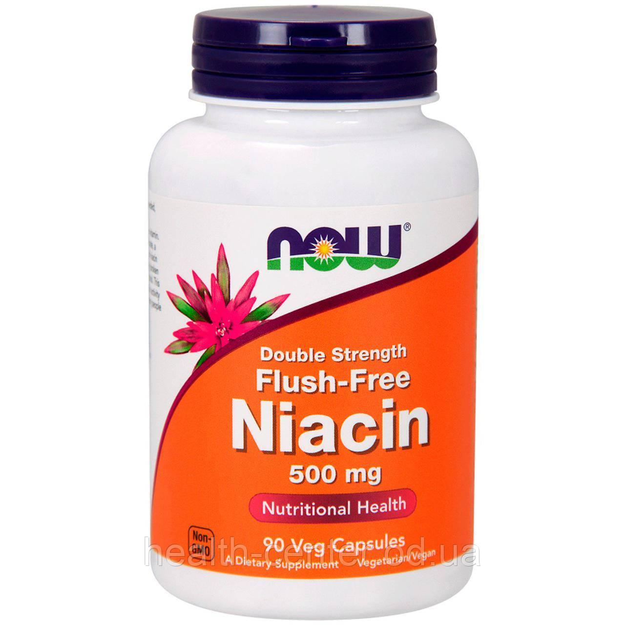 Ниацин без жара 500 мг 90 капс улучшение кровообращения для мозга сердца  Now Foods USA