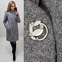 Зимнее кашемировое пальто, утепленное!!! светло-серое, арт. 136
