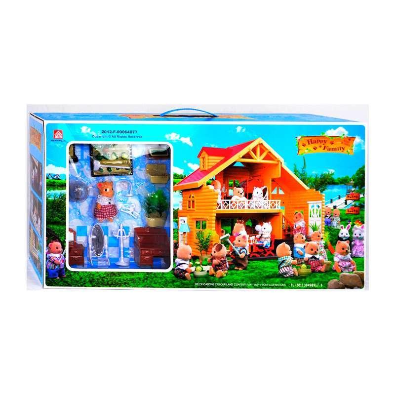 """Вилла """"Счастливая семья"""" 012-03 (6) мебель, фигурка, подсветка, в коробке"""