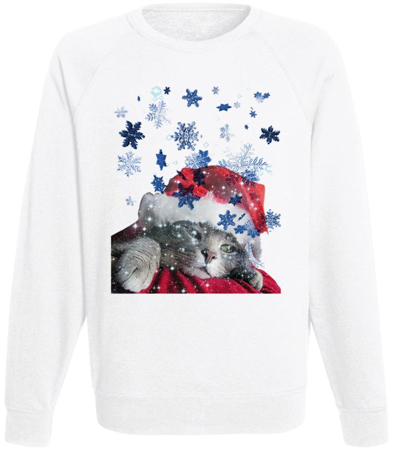 Мужской свитшот Christmas Cat (белый)