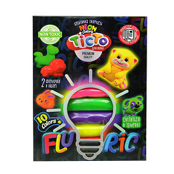 Набор креативного творчества Danko Toys Тесто для лепки FLUORIC 10 цветов TMD-FL10