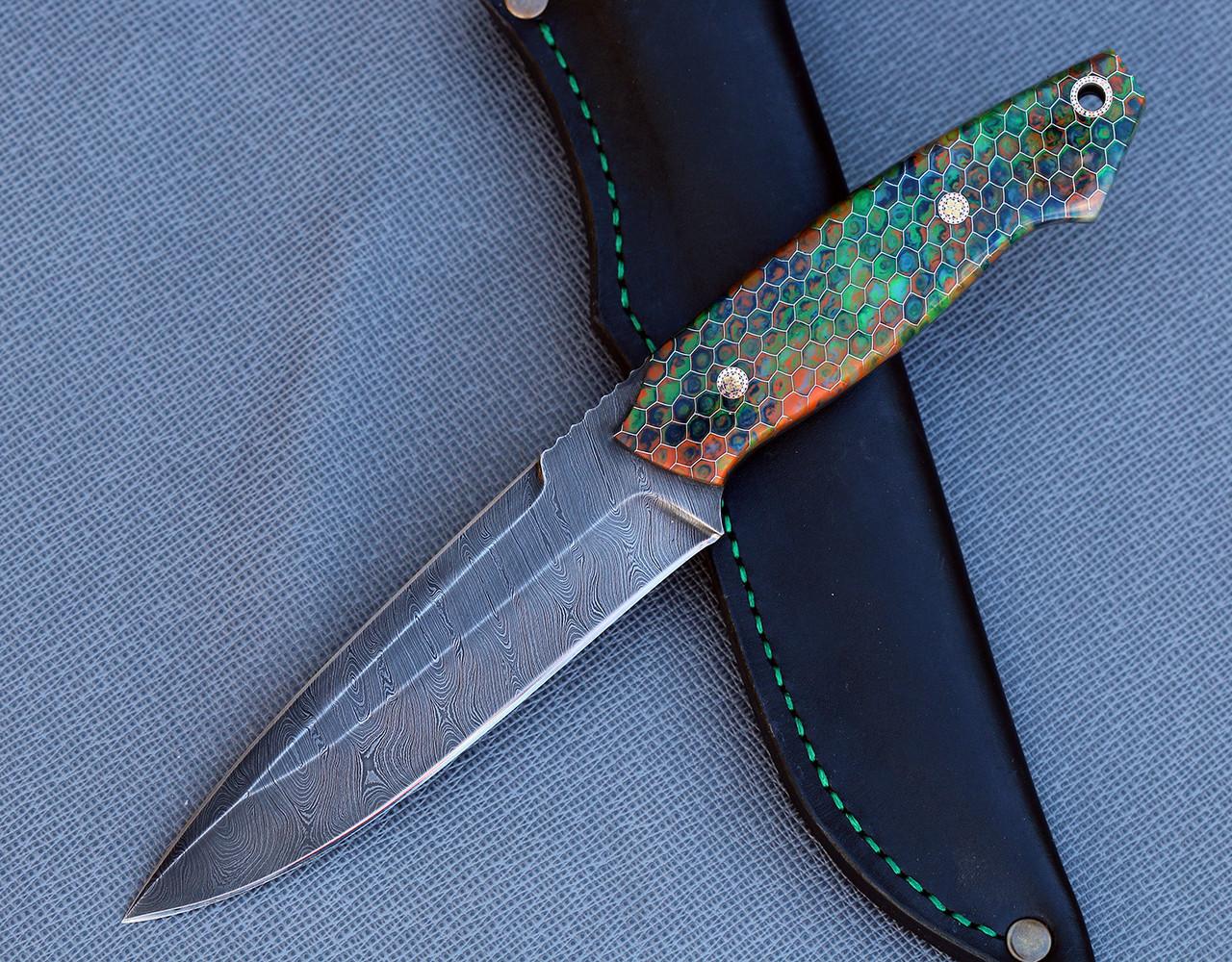 """Нож ручной работы """"Крокодил"""", из дамасска"""