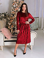 Костюм женский красивый бархат кофта и юбка плиссе миди Kol1124