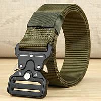 Ремень тактический Assault Belt 120см, Зеленый с металлической пряжкой