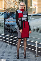 Стильное платье с геометрическим узором и длинными рукавами, размеры 42-48