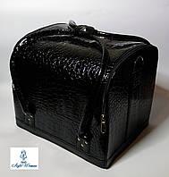 Бьюти кейс чемодан для мастера салонов красоты из кожзама на змейке черный кроко